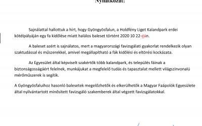 Nyilatkozat Gyöngyösfalu Kalandparki balesetről